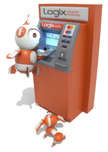 Robix in ATM machine withdrawing money
