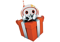 Give the gift of Logix - Robot holding a present.