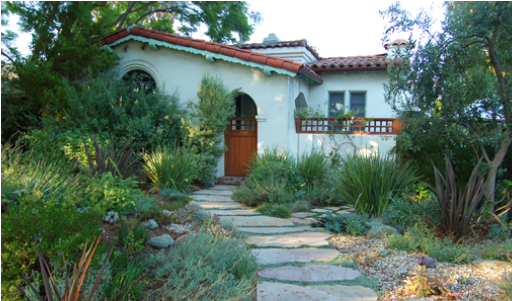 A California house with drought-resistant landscaping