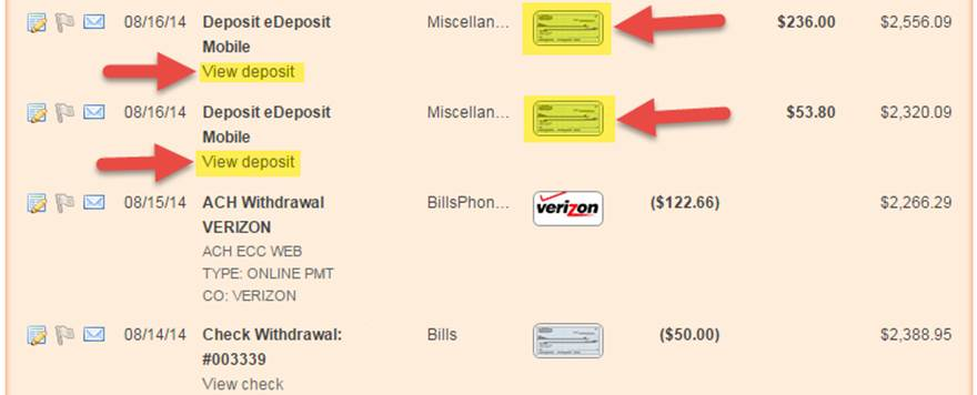 Online Banking Deposit Images
